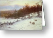 Livestock Painting Greeting Cards - Snow Covered Fields with Sheep Greeting Card by Joseph Farquharson