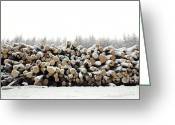 Snowscape Greeting Cards - Snow covered log pile Greeting Card by Richard Thomas