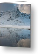 Symmetry Greeting Cards - Snow Covered Mountain Reflected In Lake Greeting Card by © Peter Boehi