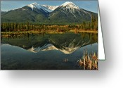 Symmetry Greeting Cards - Snow Covered Peaks Of Canadian Rockies Greeting Card by Jeff R Clow