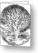 Tree-covered Greeting Cards - Snow-covered Tree, Engraving Greeting Card by Gary Hincks