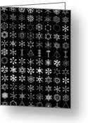 Hexagons Greeting Cards - Snow Crystals Greeting Card by Sheila Terry