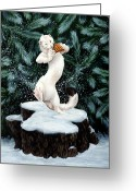 Panpipes Greeting Cards - Snow Dance Greeting Card by Beth Davies