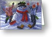 Holidays Greeting Cards - Snow Day Greeting Card by Richard De Wolfe