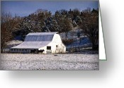 "\\\\\\\""boone County Photo Greeting Cards - Snow Dusted Barn Greeting Card by Cricket Hackmann"