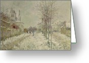 Slush Greeting Cards - Snow Effect Greeting Card by Claude Monet
