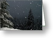 Flurries Greeting Cards - Snow Fall Greeting Card by Lori Seaman