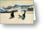 The Berkshires Greeting Cards - Snow Fields Greeting Card by Rockwell Kent
