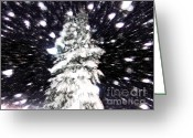 Snowy Night Greeting Cards - Snow Fight Greeting Card by Lj Lambert