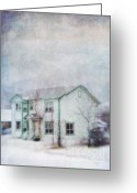 Dawson City Greeting Cards - Snow Flurry round My Neighbors House Greeting Card by Priska Wettstein