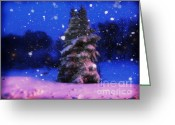 Snowy Tree Greeting Cards - Snow Globe  Greeting Card by Lj Lambert