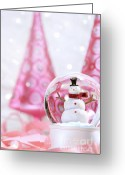 Shimmer Greeting Cards - Snow globe with pink  trees Greeting Card by Sandra Cunningham