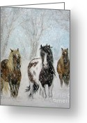 Horses Pastels Greeting Cards - Snow Horses Greeting Card by Teresa Vecere