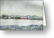 The Berkshires Greeting Cards - Snow in the Berkshires Greeting Card by Judy Riggenbach