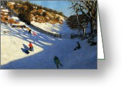 Great Painting Greeting Cards - Snow in the valley Greeting Card by Andrew Macara