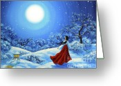 Laura Milnor Iverson Greeting Cards - Snow Like Stars Greeting Card by Laura Iverson