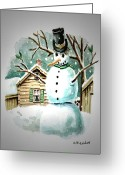 Holiday Greeting Cards - Snow Man Greeting Card by Kenneth Lambert