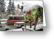 Life In The City Greeting Cards - Snow Moose With Streetcar Greeting Card by Alfred Ng