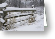 Split Rail Fence Greeting Cards - Snow on the Fence Greeting Card by Gordon Brown