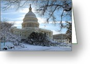 Beltway Greeting Cards - Snow on the Hill Greeting Card by John Pattenden