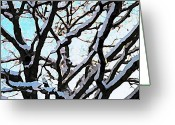 Oak Pastels Greeting Cards - Snow on the Oaks Greeting Card by Jean Davies