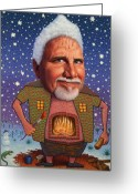 Fireplace Greeting Cards - Snow on the roof... Greeting Card by James W Johnson