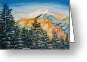 Christmas Pastels Greeting Cards - Snow Peak in Taos Greeting Card by Lisa  Spencer