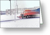 Plowing Greeting Cards - Snow Plow in Business Park 1 Greeting Card by Steve Ohlsen