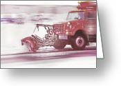 Plowing Greeting Cards - Snow Plow in Business Park 2 Greeting Card by Steve Ohlsen