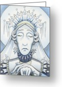 Slumber Greeting Cards - Snow Queen Mum Slumbers Greeting Card by Amy S Turner