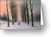 Romanticist Greeting Cards - Snow Scene Wanstead Park   Greeting Card by Nils Hans Christiansen