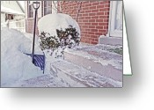 Mound Greeting Cards - Snow Shovel in Snow 1 Greeting Card by Steve Ohlsen