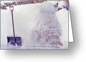 Mound Greeting Cards - Snow Shovel in Snow 2 Greeting Card by Steve Ohlsen