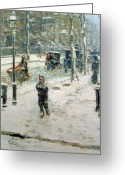 Snow Storm Greeting Cards - Snow Storm on Fifth Avenue Greeting Card by Childe Hassam