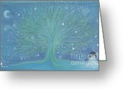 Magic Pastels Greeting Cards - Snow Tree Greeting Card by First Star Art