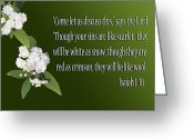Isaiah Greeting Cards - Snow White Flowers Is. 1v18 Greeting Card by Linda Phelps