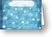 Tag Art Greeting Cards - Snow Winter Greeting Card by Setsiri Silapasuwanchai