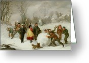 Slush Greeting Cards - Snowballing   Greeting Card by Cornelis Kimmel