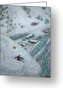 Ski Art Painting Greeting Cards - Snowbird Steeps Greeting Card by Michael Cuozzo