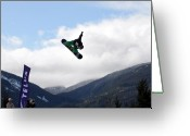 Snow Board Greeting Cards - Snowboarder at the Telus snowboard festival Whistler 2010 Greeting Card by Pierre Leclerc