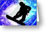 Snow Boarding Greeting Cards - Snowboarder in Whiteout Greeting Card by Elaine Plesser
