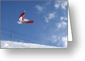 Snow Board Greeting Cards - Snowboarder Indy grab Chamonix France Greeting Card by Pierre Leclerc