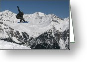 Snow Board Greeting Cards - Snowboarder Indy grab Switzerland Greeting Card by Pierre Leclerc