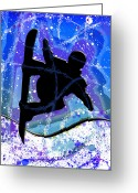 Snow Board Greeting Cards - Snowboarder Greeting Card by Stephen Younts