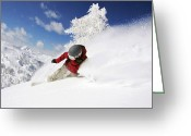 Snow Board Greeting Cards - Snowboarder Greeting Card by Steve Thorpe