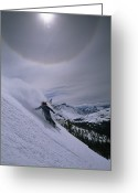 Flares Greeting Cards - Snowboarding Down A Peak In Yosemite Greeting Card by Bill Hatcher