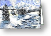 Stone Chimney Greeting Cards - Snowed In Greeting Card by Shana Rowe