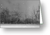 Bare Tree Greeting Cards - Snowfall At Night Greeting Card by Mark Watson (kalimistuk)