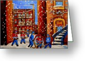 Hockey Stars Greeting Cards - Snowfall Hockey Game Winter City Scene Greeting Card by Carole Spandau