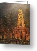 Night Scene Greeting Cards - Snowfall in Cathedral Square - Milwaukee Greeting Card by Tom Shropshire